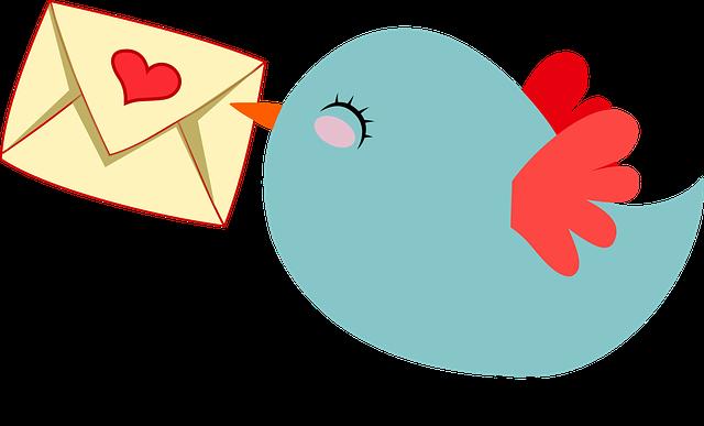 ptáček nesoucí obálku